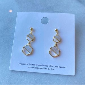 Drop Mosaic Gold color Earrings from Korea